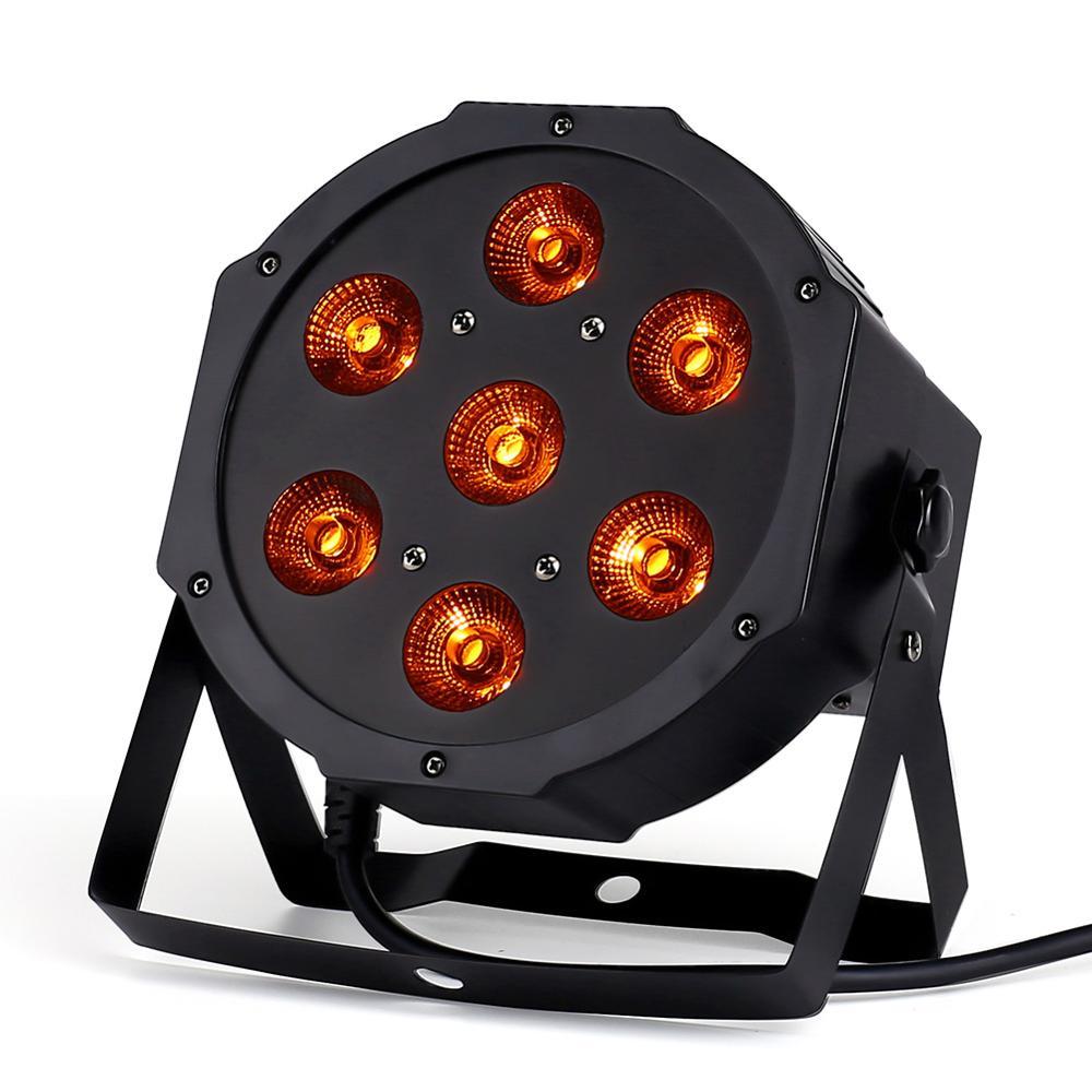 7x18W LED plano SlimPar RGBWA UV Light 6 en 1 LED DJ Wash Light etapa dmx iluminación de escenario luz led con caja de vuelo