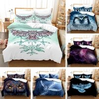 colorful owl bedding set cute 3d duvet cover animal for adults kids home textile full queen king size