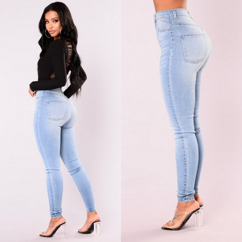 Новые поступления, модные популярные женские джинсовые узкие брюки, эластичные джинсы с высокой талией, узкие джинсы-карандаш, женские повс...