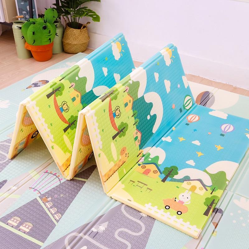 الأطفال حصيرة على الأرض 1 سنتيمتر سميكة طوي الطفل تلعب حصيرة الرضع لينة الزحف الوسادة XPE رغوة لعبة Playmat تطوير حصيرة