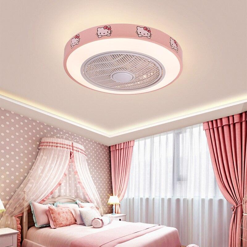 LED Fan Light Cartoon Ceiling Lamp Stepless Dimming Ultra-thin Fan Lights Living Room Lamp Bedroom Light Children's Room AC220V
