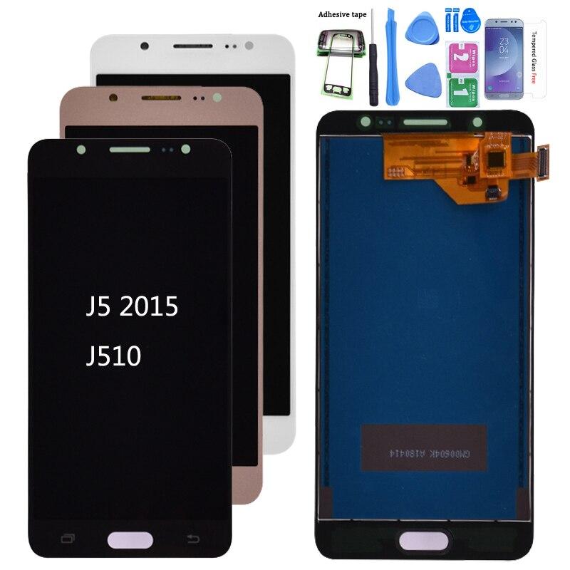 Para Samsung Galaxy J5 2016 j510 pantalla LCD de montaje de digitalizador con pantalla táctil SM-J510F J510FN J510M J510Y J510G ajustar el brillo