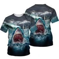 new shark series mens t shirt summer harajuku casual sleeve short sleeve t shirt unisex hip hop t shirt