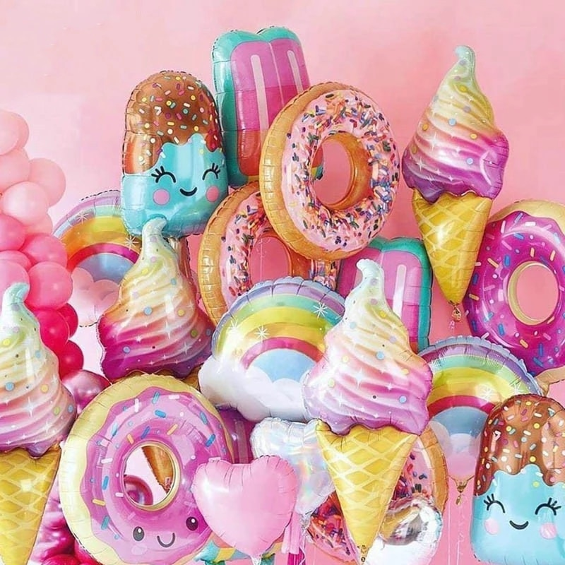 Pink Donuts Lip Ice Cream Popcorn Foil Balloons Baby Shower Happy Birthday Party Decoration Wedding Helium Two Sweet Kids Toy