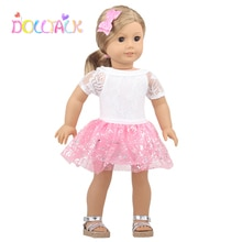 Doll Accessories 18 inch Doll Dresses Pink Sequined Skirt + Bobby Pin For 43 Cm New Baby Born Doll F