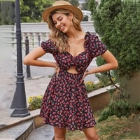 womens floral printed dress 2021 summer sundresses robe o neck vintage mini sexy short sleeve casual dresses for women clothing