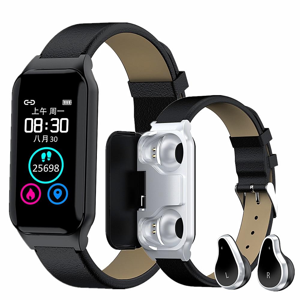 2020 Smart Band Bluetooth 5,0 TWS auricular 2 en 1 hombres mujeres reloj inteligente Monitor de ritmo cardíaco Bluetooth llamada Siri fitness pulsera