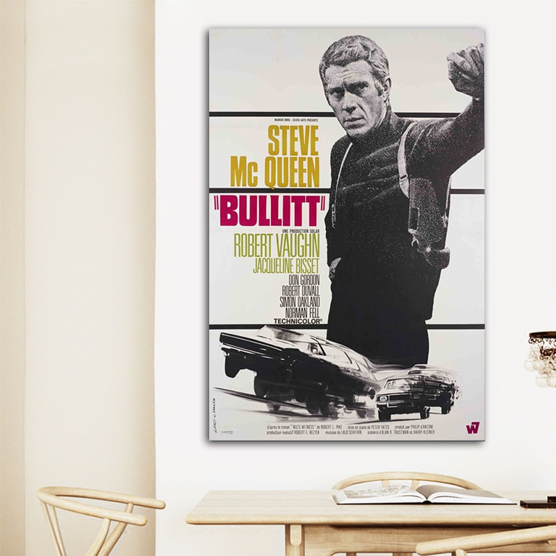 Póster de policía de arte confiable, póster de película Bulitt, pintura en lienzo, sala de estar de pared para imágenes artísticas, pintura decorativa moderna para retrato