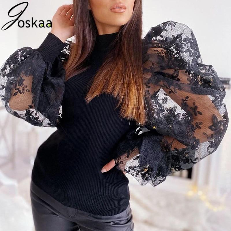Joskaa 2019 encaje manga larga Puff Patchwork Sexy Tops Otoño Invierno mujeres moda fiesta elegante Streetwear camisetas
