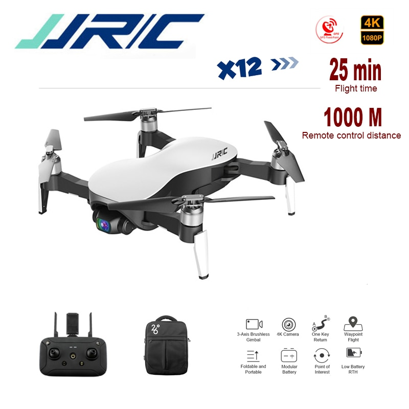 Cuadricóptero Jjrc Rc Drone Gps 5G Wifi FPV 25 minutos 1000M Anti-shake 3 ejes cardán Rc Quadcopter Drone Selfie Cámara 4k HD X12