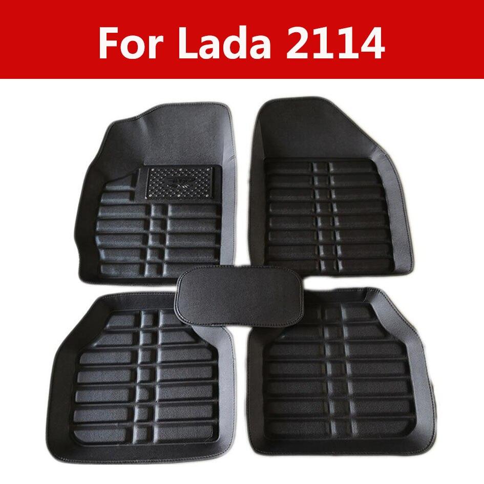 Movimentação da mão esquerda couro interior do carro pé tapete almofada para lada 2114 5pc frente & traseira tapetes de borracha