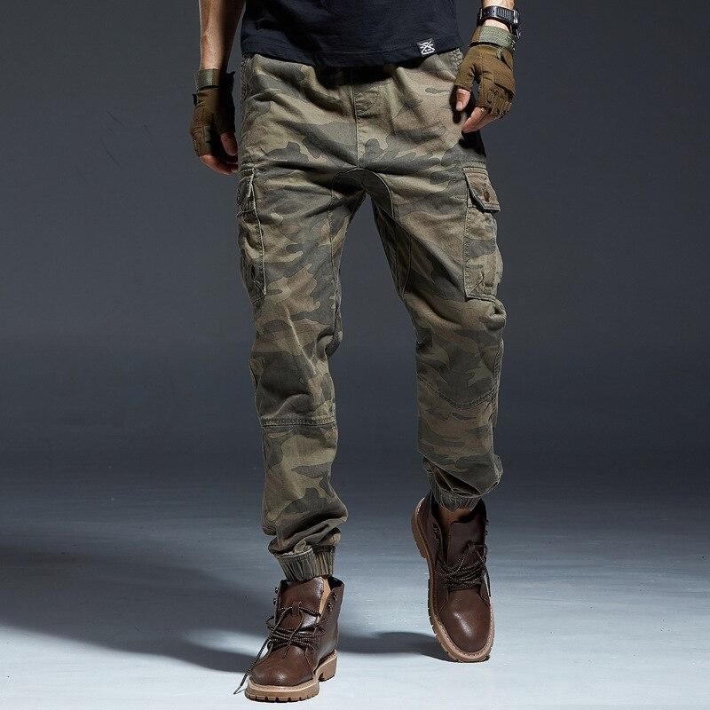 Fashion Streetwear Men Jeans Multi Pockets Casual Cargo Pants Camouflage Military Style Slack Bottom Hip Hop Joggers Pants Men