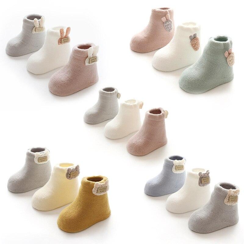 Купить с кэшбэком 3 Pairs Winter Baby Socks Warm Thick Cotton Socks For Girls Boys Infant Cute Cartoon  Newborn Shoes Boots Clothing Accessories