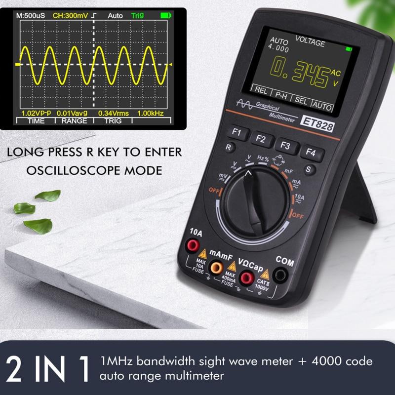 جهاز اختبار الجهد الرقمي المتعدد ET828 ، دقة عالية ، راسم الذبذبات الرقمي ، شاشة ملونة 2.4 بوصة