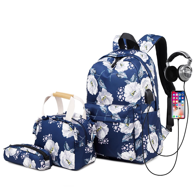 Kids Teens Backpack for School Girls School Bookbag Set 3 in 1 College Laptop Backpack Waterproof Ny