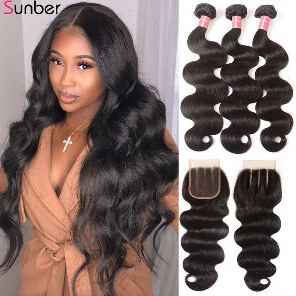 Sunber волосы перуанские волнистые волосы пряди с закрытием высокое соотношение Remy волосы 3/4 пряди с закрытием двойная машина волосы утка
