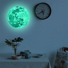 3d adesivo adesivos de parede grande lua fluorescente brilho no escuro estrelas removível casa crianças quarto decoração transporte da gota