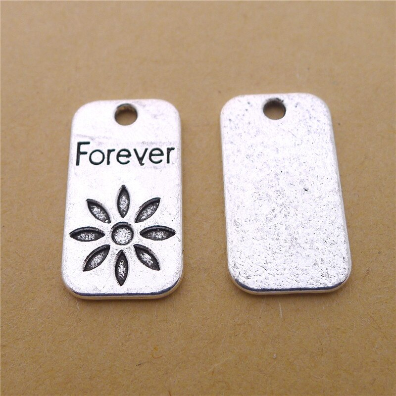 10 Metal Forever Charms 13x23MM Flower Letter Charms for Jewelry Making  - buy with discount