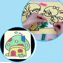2/5Pcs Kids DIY Color Sand Painting Art Creative Drawing Toys Sand Paper Learn to Art Crafts Educati