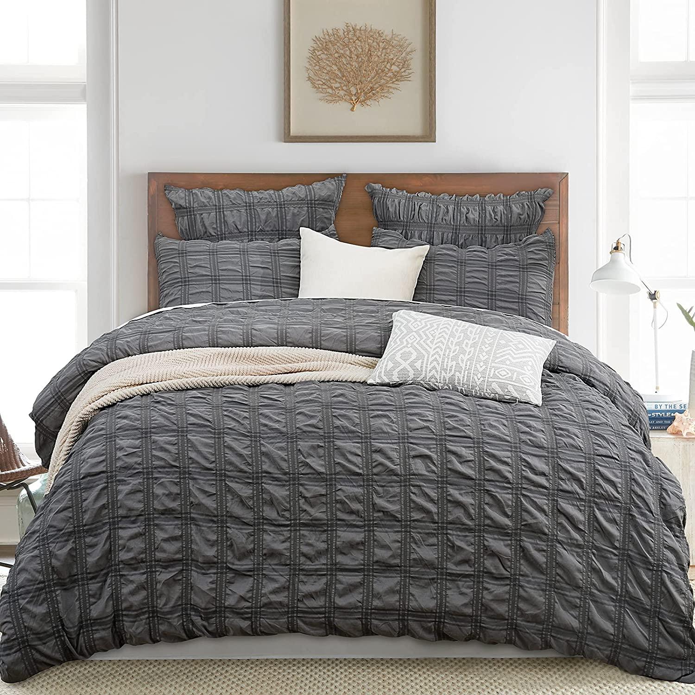 Seersucker Duvet Cover Set, 3PCS Textured Stripe Washed Microfiber Comforter Bed Accessories with Zipper Closure, 90