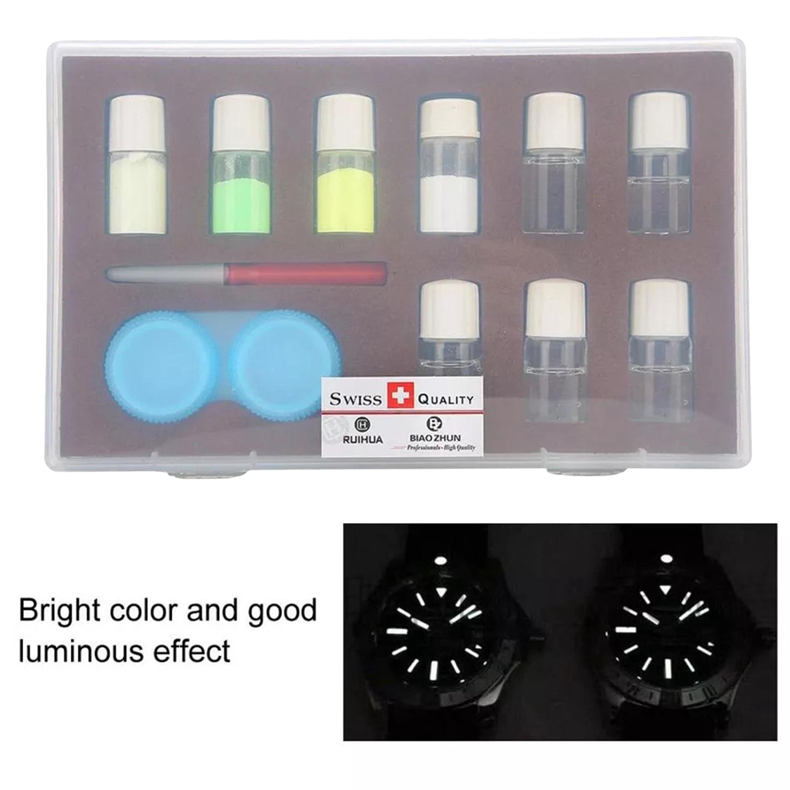 Relógio para Relojoeiro Kit de pó Cores Profissional Fluorescente Luminosa 5 Pçs Mistura Líquido Noite Aviso Conjunto Reparação Novo 4