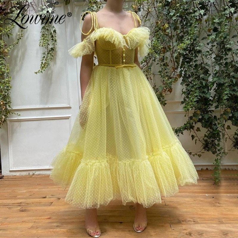 Arabia Saudita longitud del tobillo Celebrity Vestidos De Fiesta 2020 por encargo amarillo corto vestido De Fiesta estilo Dubai vestido De noche Vestidos De Fiesta