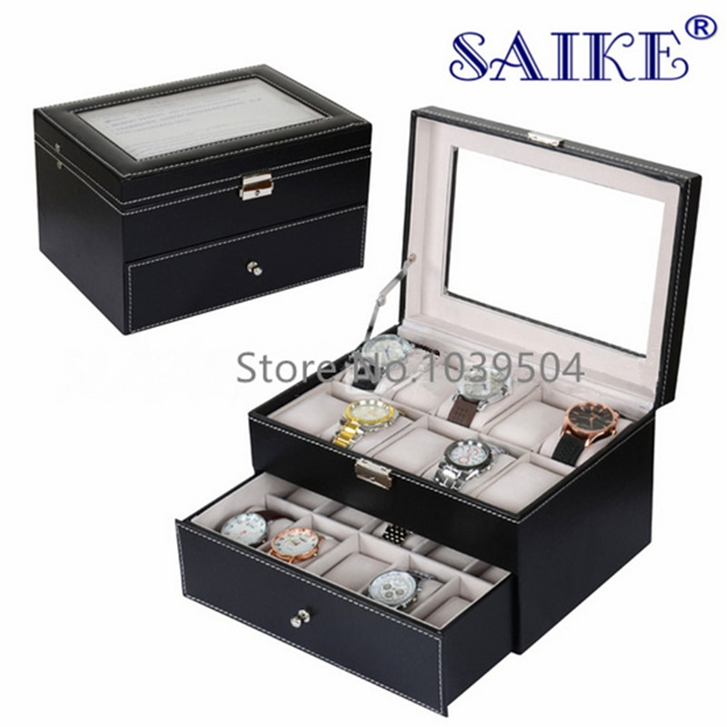 20 Slots Leather Watch Boxes Case New Mechanical Display Watch Organizer Rectangle Two Layers Jewelry Storage Case Holder