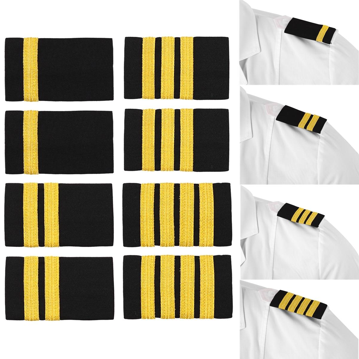 1 Pair Clothing Decor Epaulettes Professional Pilots Uniform Epaulets Bars Shirts Craft Shoulder Badges Garment DIY Accessory