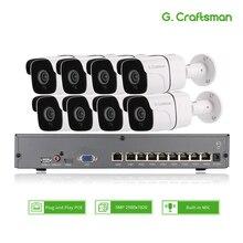 Kit Audio POE 8ch 5 mp   Système H.265, sécurité vidéosurveillance NVR, caméra IP étanche pour lextérieur, alarme de Surveillance vidéo G. Artisan