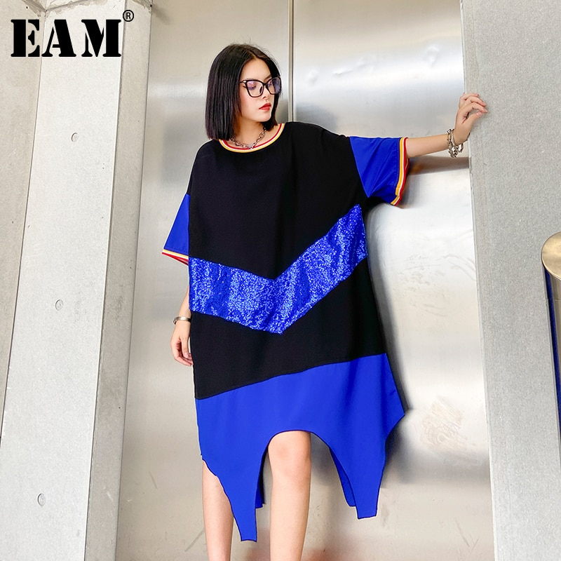 [EAM] Women Blue Striped Irregular Big Size Dress New Round Neck Half Sleeve Loose Fit Fashion Tide Spring Summer 2020 1W360