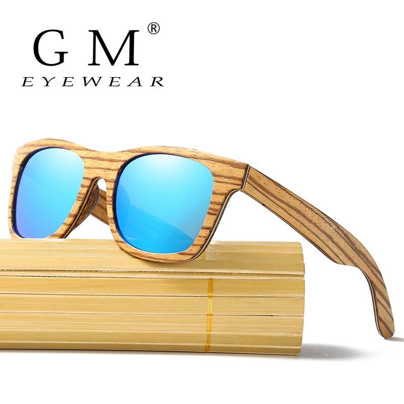 GM hombres polarizados Zebra Natural Wood gafas de sol hechas a mano y soporte DropShipping/proporcionar imágenes