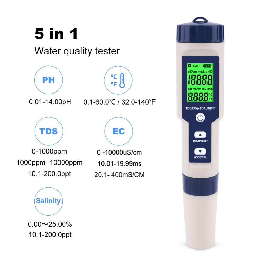 Yieryi testeur deau numérique professionnel 5 en 1 PH/TDS/EC/salinité/testeur de température stylo compteur multifonction étanche