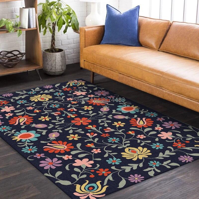 200*300 سنتيمتر الموضة الأمريكية الطازجة الرجعية الأزرق الزهور غرفة المعيشة غرفة نوم المطبخ السرير عدم الانزلاق سجادة أرضية