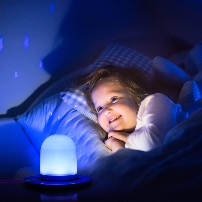 Mini recargable inteligente LED Control remoto luz nocturna Dimmer inteligente lámpara portátil de noche regulable RGB Luz de cambio de Color