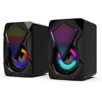 stereo sound surround loud computer speaker 3 5mm bass music player colorful lights speakers usb powered small size subwoofer