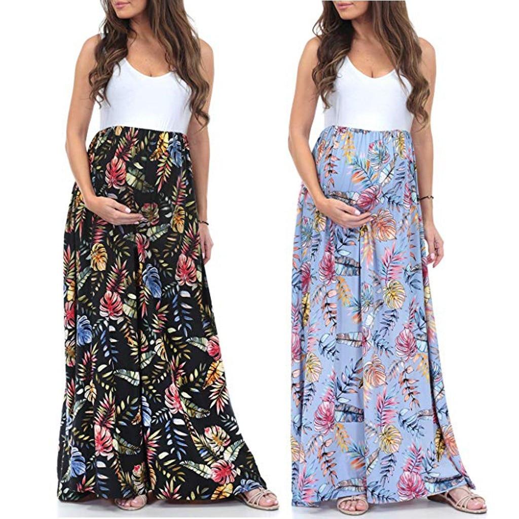 Maternity Dress 2021 Women Sleeveless Maternity Pregnancy Clothes Pregant Women Dress Ruched Long Maxi Splicing Dress