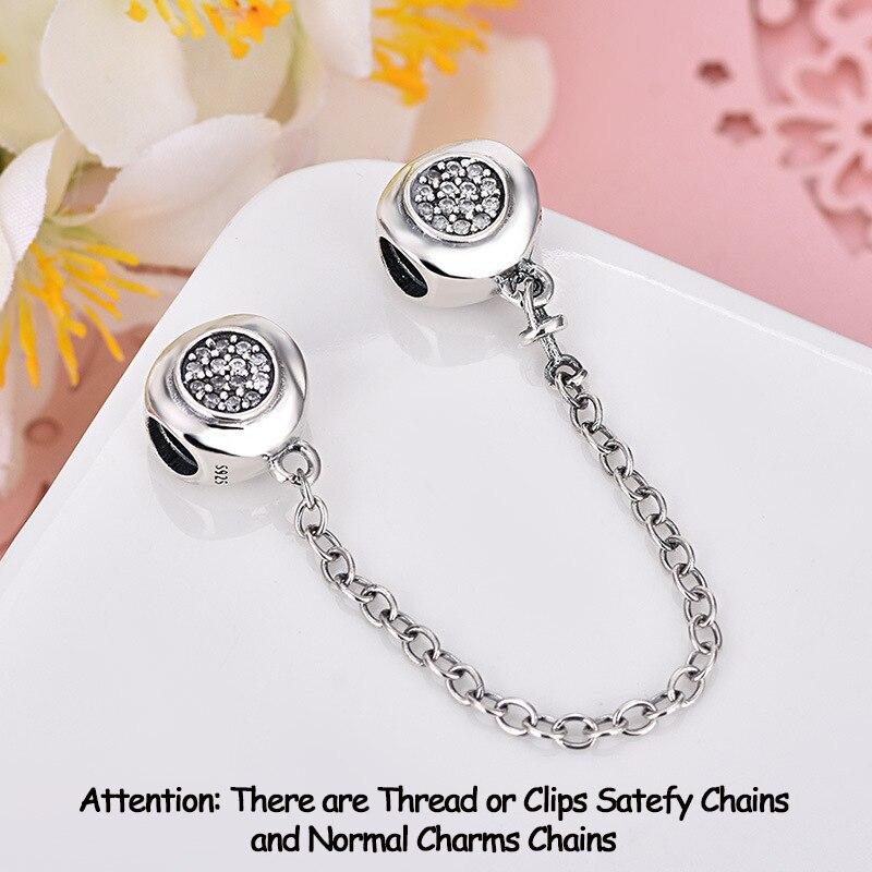 Authentische 925 Sterling Silber Perlen Charme DAZZLING ELEGANZ Sicherheit Kette Charms Fit Ursprüngliche Pandora Armbänder Frauen Schmuck