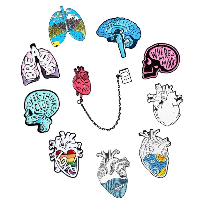 Креативная эмалевая булавка для мозга человека, эмалевая брошь для беспокойства, навязчивая брошь на лацкан в стиле панк, Значки для анатом...