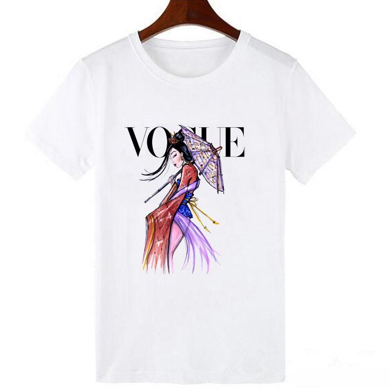 LUCKYROLL nueva llegada Camiseta para Mujer Harajuku moda Mulan Princess Print Esthetic Camiseta Femme tapas de moda Camiseta Mujer