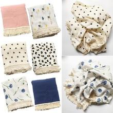 Newborn Baby Pure Cotton Muslin Blanket Soft Tassel Swaddle Wrap Receiving Blanket Newborn Photography Props Shower Gifts