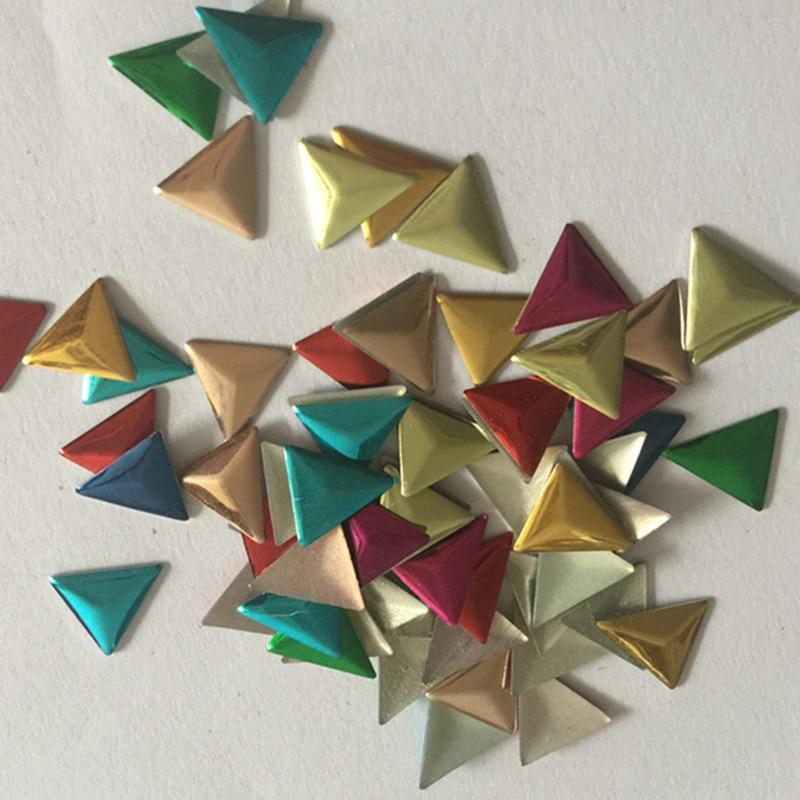 Pernos de revisión de Metal 500 Uds 6mm/8mm/10mm triángulos plata/oro/Color mezcla Hotfix clavos de fijación caliente DIY Rhinestuds transferencia de calor