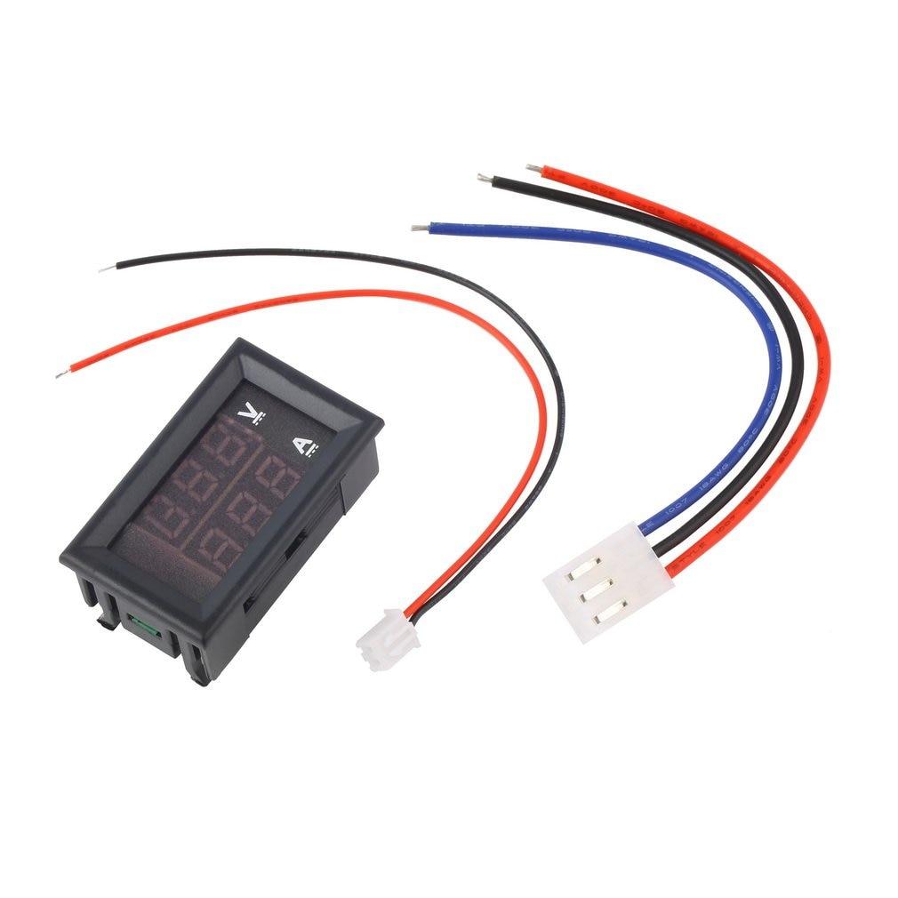 Voltímetro ACEHE DC 100V 10A amperímetro azul + rojo LED Amp doble Digital medidor de voltímetro voltaje corriente uso doméstico herramienta