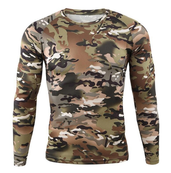 Quick Drying Long Sleeve T-shirt Men Autumn Outdoor Bike Running Fitness Mountaineering Bicycle Round Neck Camouflage T Shirts pink plain round neck long sleeves tassel hem t shirts