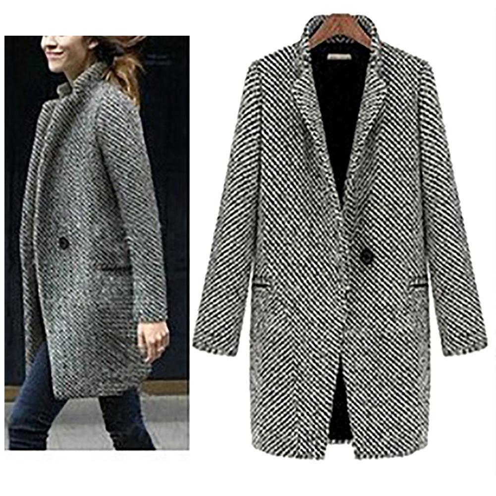 coat women Long sleeve elegant Autumn Winter Women Solid Color Slim Fit Cardigan Warm Thicken Woolen