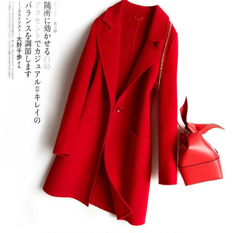 2021 Autumn Winter Women Woolen Warm Long Coat Female Solid Color Loose Lapel Jacket Overcoat Ladies