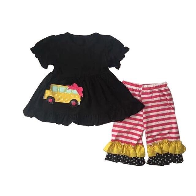 Venda quente boutique crianças outfit julho 4th carta impresso hoodie preto topos com printd leggings
