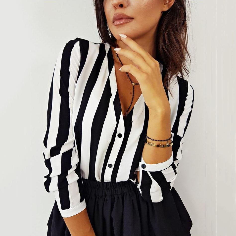 Mode Sommer Elegante V Neck Taste Bluse OL Beiläufige Lose Tops Sexy Frauen Striped Vintage Shirt