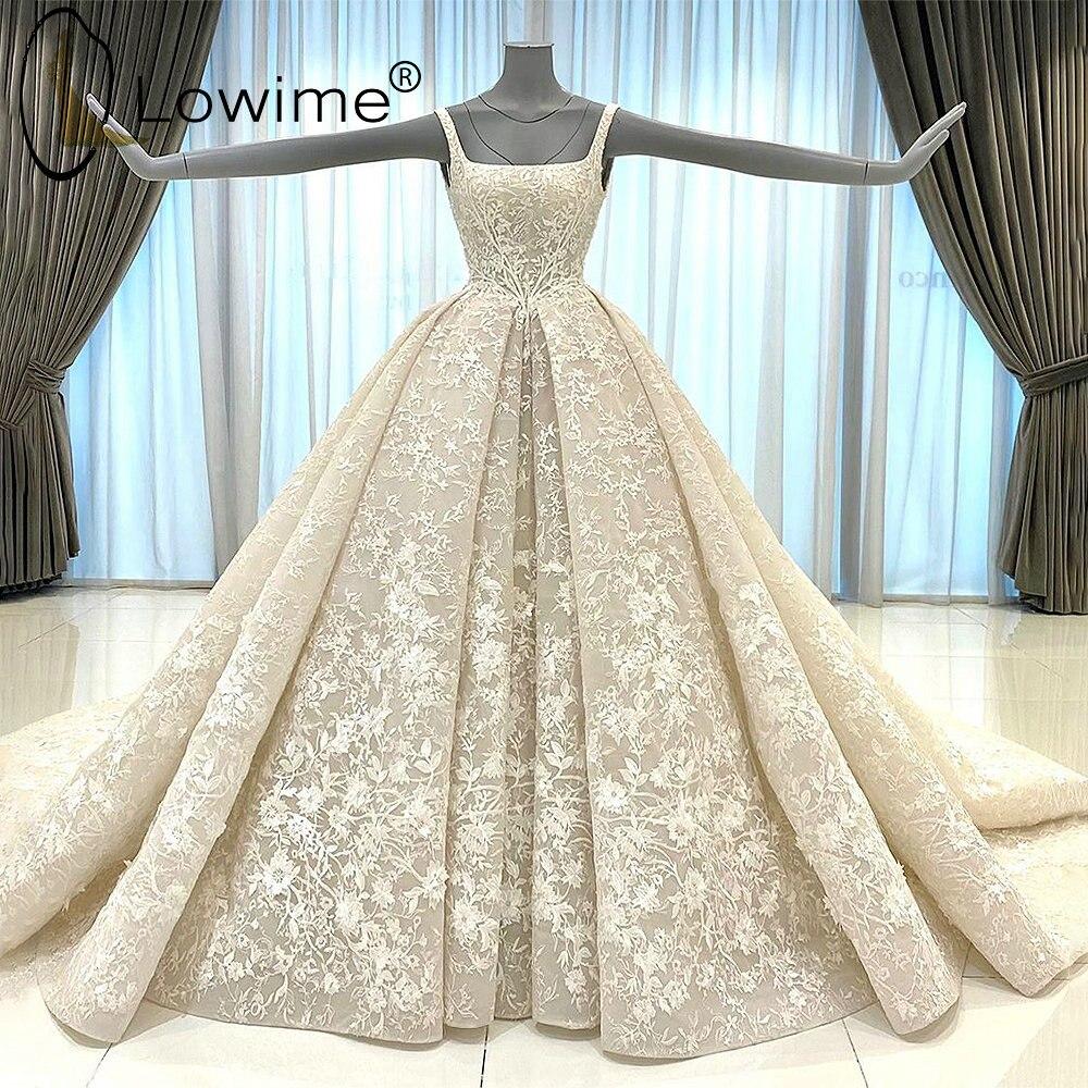 فستان زفاف دانتيل بلون الشمبانيا ، خط رقبة مربع ، منتفخ ، مجمع ، مثير ، هالتر ، فساتين الزفاف