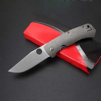 High Quality Hardness Folding Knife D2 Blade Titanium Alloy Handle Saber Outdoor Safety Pocket EDC Tool HW549