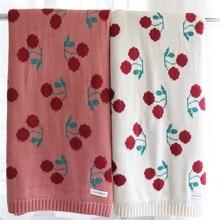 Manta de algodón de 2 capas con estampado de cereza para niña, cobertor suave para asiento trasero de bebé, funda de edredón para cama, manta de verano para niña, 86x104cm